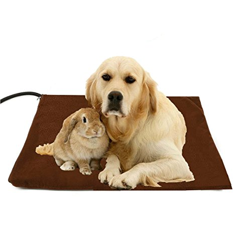 Pet Heating Pad Large, Berocia 30W Adjustable Temperature Waterproof Pet Bed Warmer with Chew Resistant Cord Soft Removable Cover Overheat Protection (Large 19.69 x 19.69 inch)