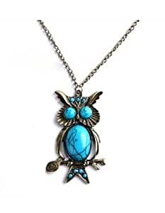 SaveGoodBuy Unique Bronze Owl Filled Turquoise Pendant Copper-plated Metal Necklace 1pcs