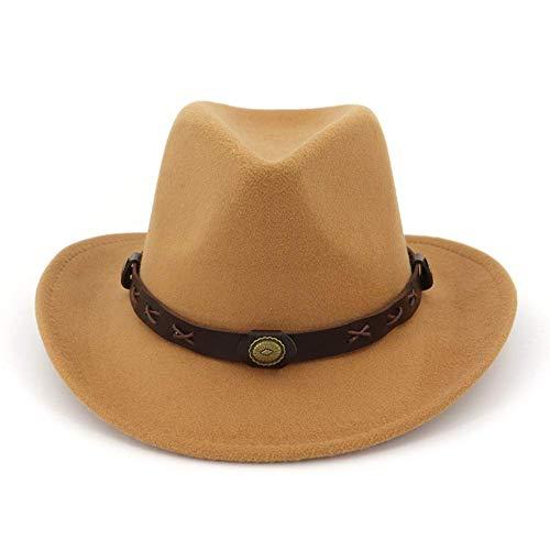 Men Woolen Wide Brim Fedora Hat Retro Jazz Cap With Leather Belt Buckle DecorationWine Red