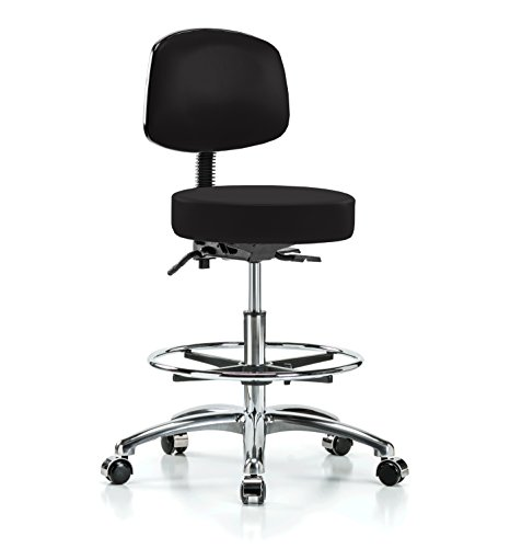 PERCH Chrome Walter Rolling Height Adjustable Doctor's Stool with Back and Footring for Hardwood or Tile | Workbench Height | 300-Pound Weight Capacity | 12 Year Warranty (Black Vinyl) (Stool Physician Adjustable)
