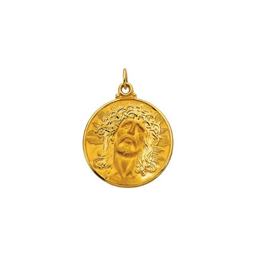 14kt Yellow 23mm Round Face of Jesus (Ecce Homo) Medal (Homo Medal 14kt Ecce)