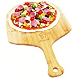 """Lorrenzetti Bamboo Pizza Peel. Easily Slide Pizzas Into Your Oven. 19.7"""" x 11.8"""" Large Paddle. Beveled Edge For Smooth Grip. Made With Non Split, Anti Bacterial, Ethically Sourced Bamboo."""