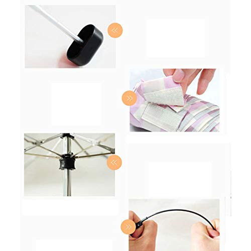 Hexiansheng Folding Umbrellas Travel Umbrellas for Windproof Shades Suitable for Ladies, Men, Children Small and Portable 17cm (Color : Off-White) by Hexiansheng (Image #1)