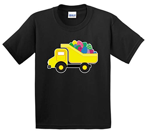 Truck Easter Clothing Egg Easter Present Ideas Easter Outfit Easter Eggs Dump Truck Easter Gifts Youth T-Shirt Medium Black ()
