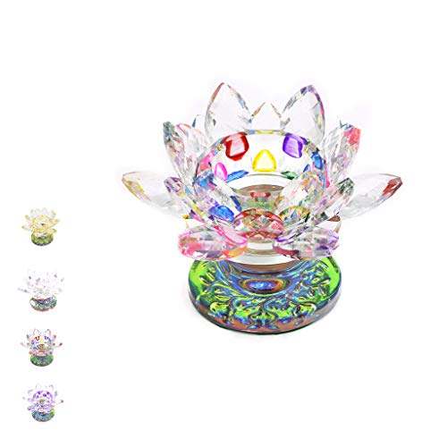 Fvstar Multi Color Crystal Lotus Flower Tealight Candle Holder Centerpieces for Home Wedding Votive Activity Birthday Party Present for Christmas Thanksgiving Decoration