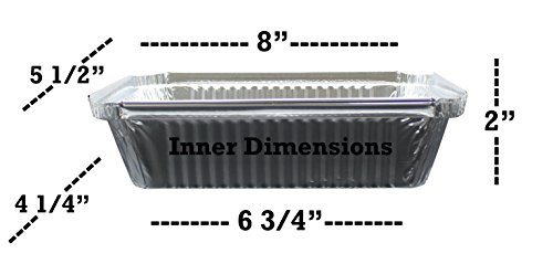 """100 Pack of Disposable Takeout Pans with Clear Lids – 2 Lb Capacity Aluminum Foil Food Containers – Strong Seal for Freshness – Eco-Friendly and Recyclable – 8x5.5"""" Inch Drip Pans - By MontoPack by MontoPack (Image #3)"""