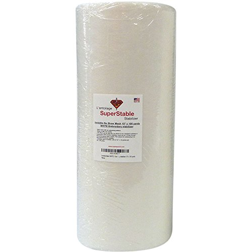 Invisible No-Show Mesh Stabilizer White 1.5 oz 15 inch x 100 Yard Roll. SuperStable Embroidery Stabilizer Backing - Style Trio