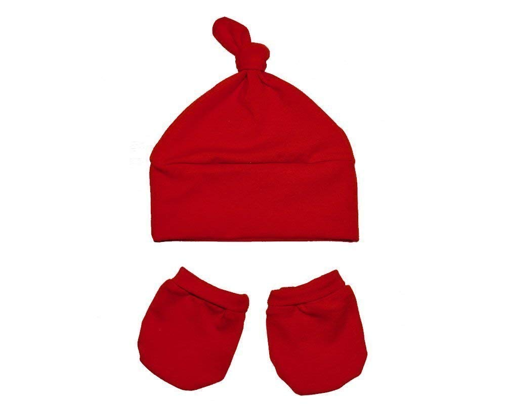 Baby Red Knot Hat and Mittens Set, this red newborn baby knot hat and mittens set made using super soft cotton knit fabric