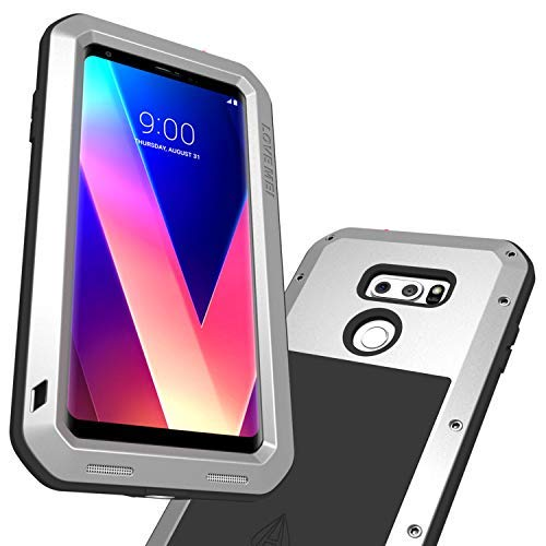 LG V35 ThinQ Case, LG V30 Case, Built-in Tempered Glass Screen Protector  Shock Absorption Metal Shell Drop Resistant Silicone Rubber Cushion