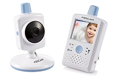 "Foscam FBM2307 Digital Video Baby Monitor - Night Vision, 2.4"" Touchscreen LCD, VOX Video Toggle, Night Light Function, Rechargeable Battery, 2.4 Ghz Wireless (White/Blue)"