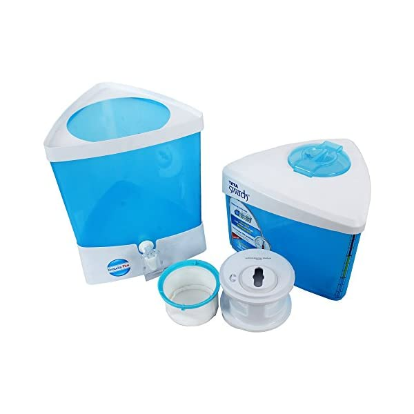 Tata Swach Non Electric Cristella Plus 18-Litre Gravity Based Water Purifier + 6 Bottle Free worth Rs. 249 (Aqua Blue) 2021 June Color: Blue Installation: Product does not require installation. For any product related issues, please contact_us on: [ 18002585858 ] Type: Non-electric with storage