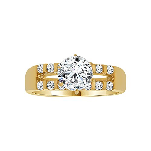 14k Yellow Gold, Lady Engagement Ring Round Created CZ Crystals 6.5mm 1.0ct Size 5.5 by GiveMeGold