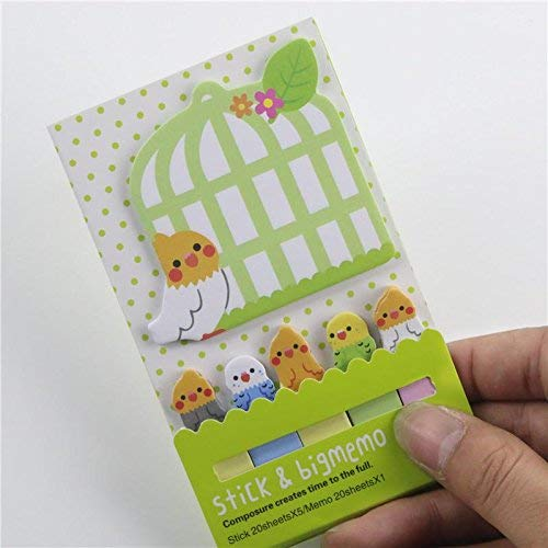 1Pc Creative Bird and Cage Pattern Self Stick Notes Classified Lables for Notebook Green Durable and Useful