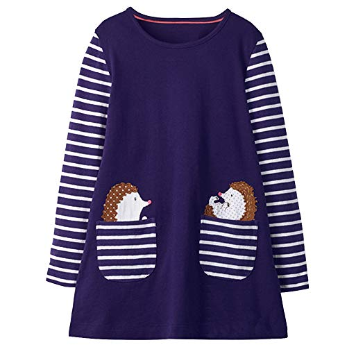 VIKITA Toddler Girl Animal Stripe Cotton Long Sleeve Dress Baby Girls Winter Casual Dresses 2-8 Years (8T, JM7667)