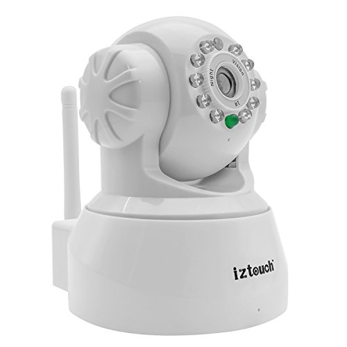 iZtouch AP001 White Wireless/Wired IP Camera with Two-Way Audio Night Vision Pan/Tilt Control, QR Code Scan Phone remote monitoring supported