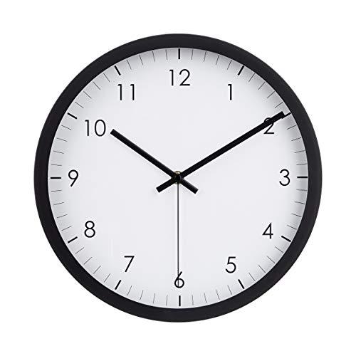 AmazonBasics - Reloj de pared tradicional, 30,5 cm, negro