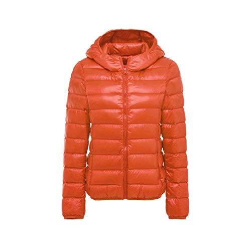 EnergyWomen Hood Ultra Light Weight Packable Puffer Outwear Down Jackets Orange