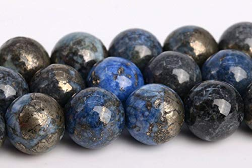 8MM Natural Sky Blue Pyrite Grade AAA Round Gemstone Loose Beads 15.5