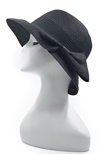Melesh Soft Fashion Womens Autumn Beach Sun Straw Cloche Hat (Black)