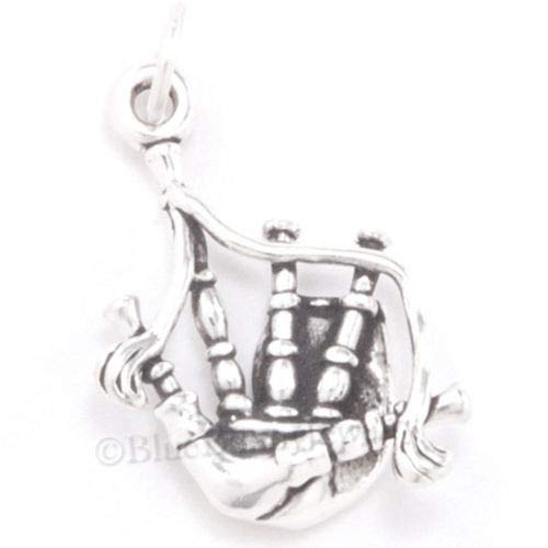 Bagpipes 3D Charm - Scottish Celtic Music Instrument - Sterling Silver Pendant]()