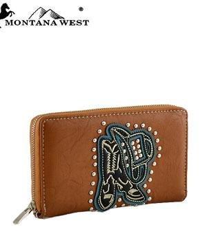 Montana West Hat and Boots Zip-Around Wallet - BROWN