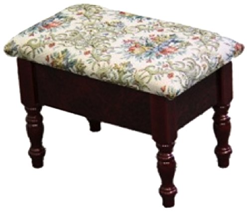 ORE International H-51 Cherry Foot Stool with Storage, 10-Inch