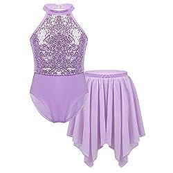 Halter Shiny Lavender Sequins Leotard with Irregular Hem Skirts Set