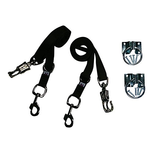 Broncobuster Adjustable 54''-96'' Nylon Horse Cross Ties (2) with Hitching Rings (Brown) by Broncobuster