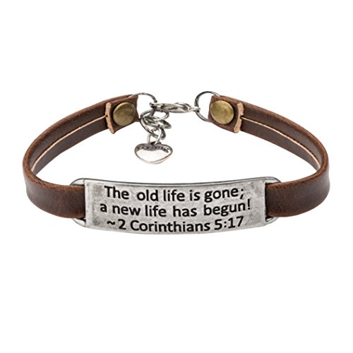 UNQJRY Graduation Gifts for Christians Bracelets Vintage Religion Bible Verse Leather Bracelet for Women Teens Christian Engraved The Old Life is Gone A New Life Has Begun