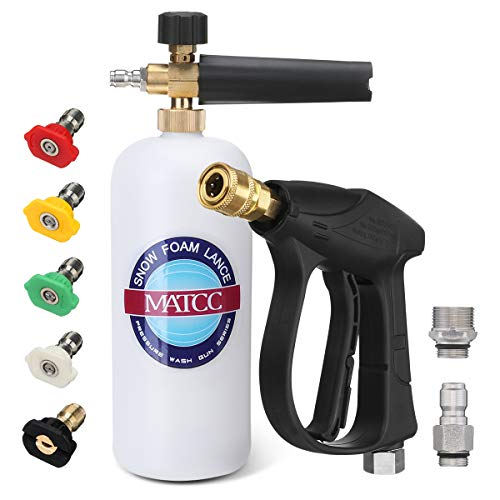 "MATCC Foam Cannon Wash Gun Kit Pressure Washer Gun with 5 Nozzle Tips Snow Foam Lance Foam Blaster for 3000PSI Pressure Washer | M22-14mm and 3/8"" Quick Connector 