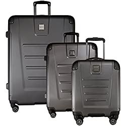 "Kenneth Cole Reaction Get Away 3-Piece Expandable Luggage Set: 29"", 25"" Spinners and 16"" Carry On Under Seat Bag (Charcoal)"