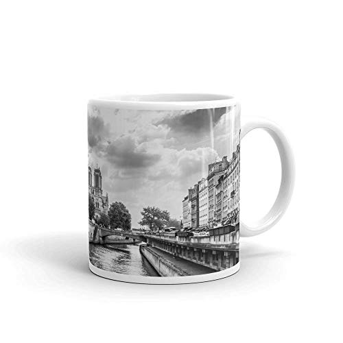 Notre Dame de Paris - Coffee Mug (11oz or 15oz) | Black and White Cityscape Collection | Modern Designer Home and Office Decor DOCAZON