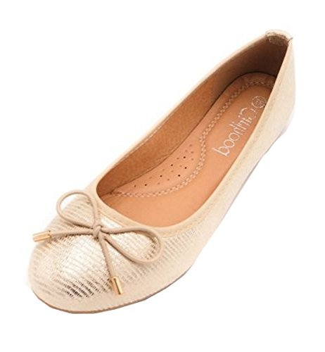 Flache Ballettpumpen Schuhe Front Bow CRAZY Metallic Shimmer SHU Ballerina Damen Gold Damen N53 Wz4B0vx