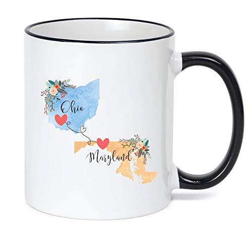 Ohio Maryland Mug State to State Coffee Cup Gift Two State Mug Best Friend Mom Girlfriend Aunt Grandma Birthday Summer Vacation Going Away Present Moving New Job Gifts (Best Friend State Mugs)