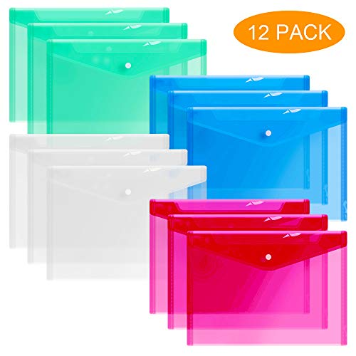 12 Plastic Envelopes, Clear Document Folders, Poly Envelope Folders, Transparent Project Envelope Folders with Snap Button Closure, A4 Letter Size File Envelopes (4 Colors)