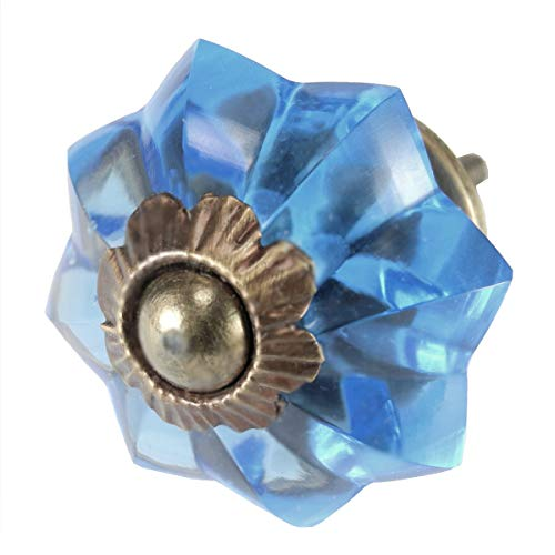 French Blue Melon Glass Cabinet Knobs, Drawer Pulls & Handles Set/2pc ~ K206NRB Classic Glass Knobs with Antique Brass Hardware for Cabinets, Dressers, Kitchen Cabinets and Cupboards
