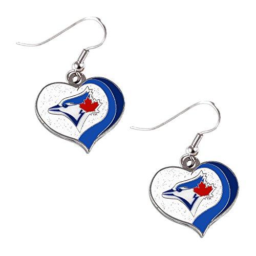 Toronto Blue Jays MLB Sports Team Logo Glitter Heart Earring Swirl Charm ()