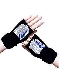Gumstyle Attack on Titan Winter Fingerless Gloves Cosplay Arm Warmers Black 1