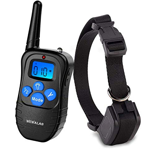Wewalab Dog Training Collar Rechargeable Rainproof 330 yd Remote Dog Training Shock Collar -Vibration, Shock and Tone with Backlight LCD,Vibra Shock Electronic Collar