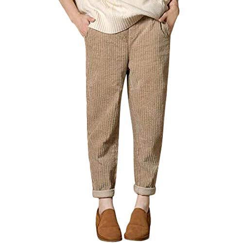 JOFOW Womens Pencil Pants Corduroy Solid Casual Long Loose Elastic Band Mid Waisted XL Harem Warm Trousers Autumn Winter (XL,Khaki)