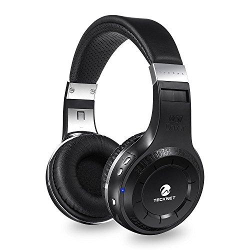 TeckNet® G921 Wireless-Bluetooth 4.1 H-Turbinen-Kopfhörer mit 57-mm-Neodym-Treiber - Kissen zur Geräuschunterdrückung - eingebautes Mikrofon - 3,5 mm Audio-In Kabel