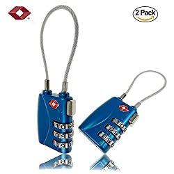 TSA Approved Cable Luggage Locks for Suitcases, Easy Read Dials with Alloy Body