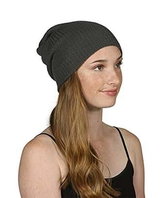 Gossip Girl Ribbed Beanie Slouchy Knit Hat Dark Gray