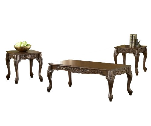 Bernards Carved Coffee Table Set, Cherry, 3-Pack ()