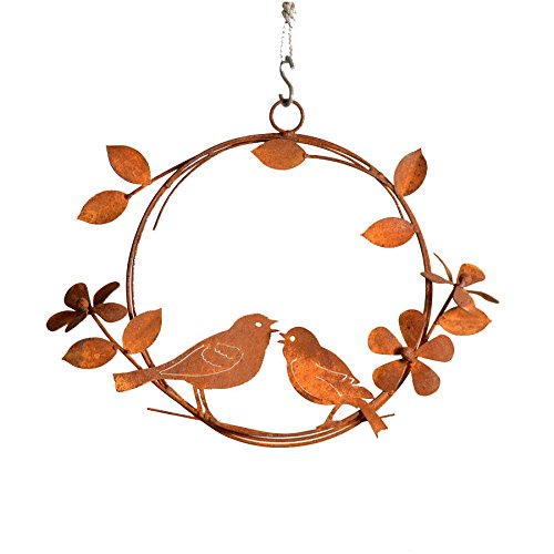 Elegant Garden Design Singing Birds Wreath, Rusty Patina (Outdoor Treat Art)