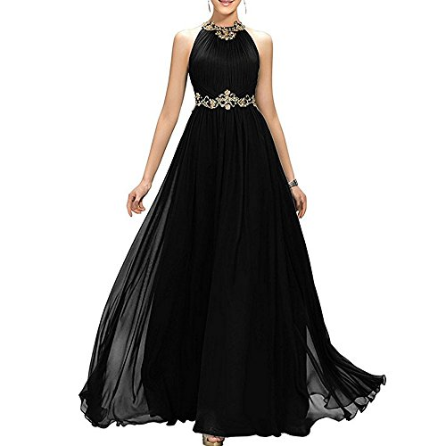 MEILISAY Meilishuo Women's High Neck Beaded Bridesmaid Dress Long Evening Gown Chiffon Prom Dress