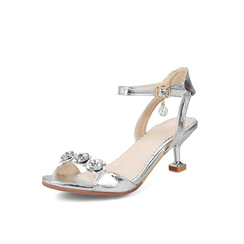 Femmes Talon Haut Rhinestone Grande Silver Ouvert Mode Sandales Bout Taille Buckle Zq5TxZwd