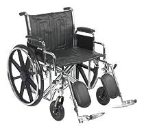 24 Bariatric Wheelchair, Steel Frame, Black, Detachable Desk Arm, Swing Away Foot Rest, 450 Lb. Capacity