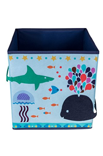 Clever Creations Deep Sea Shark & Whale Collapsible Storage Organizer Folding Storage Cube for Bedroom & Living Room | Perfect Size Storage Cube for Books, Clothes, Electronics, or Gadgets