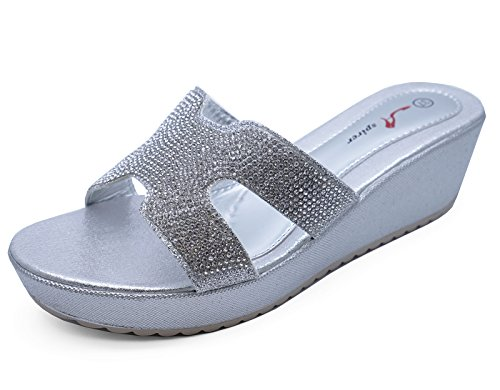 Toe Diamante Plateausandalen On Wedges Slip 3 Open Damen Silberne 8 Größe Schuhe 0xTHqwFX